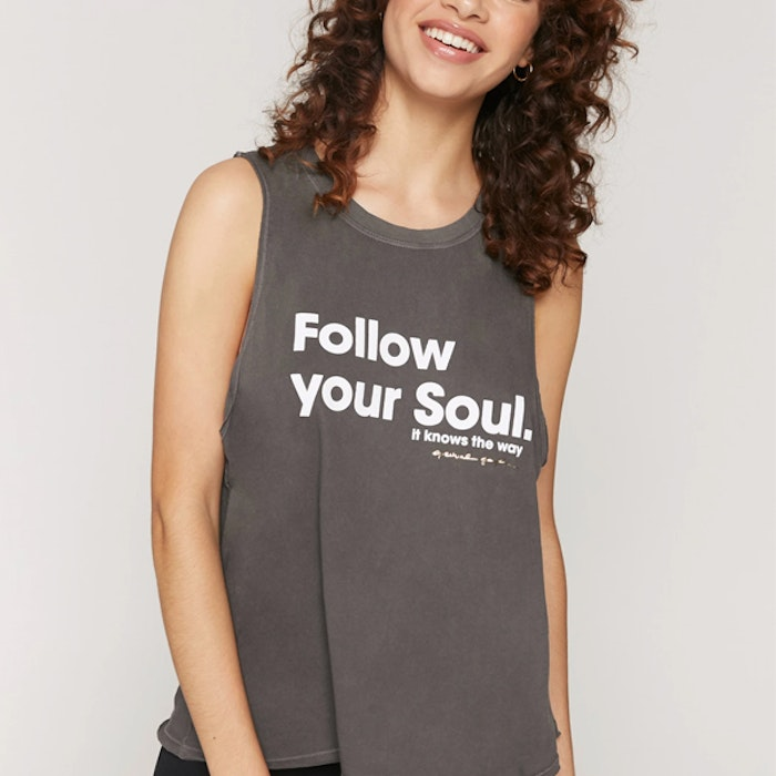 "Linne ""Follow your soul"" Gigi Muscle Tank Vintage Black - Spiritual Gangster"