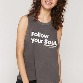 "Linne ""Follow your soul"" Gigi Muscle Tank Vintage Black - Spiritual Gangster"