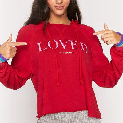 "Hoodie ""Loved"" Stella Rocker Crimson Red - Spiritual Gangster"