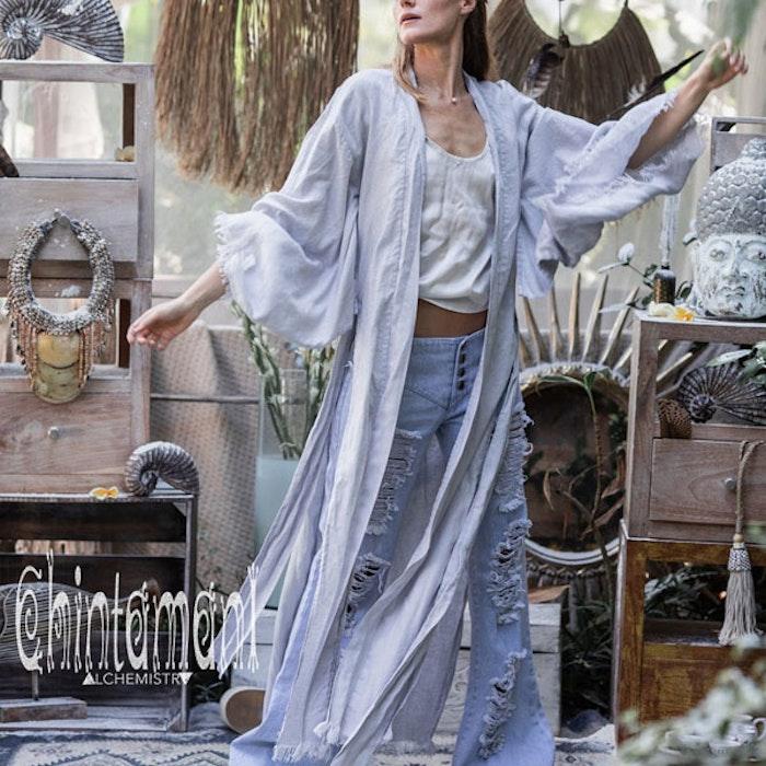 Kimono Exklusiv 100% linne ljusgrå - Chintamani Alchemi