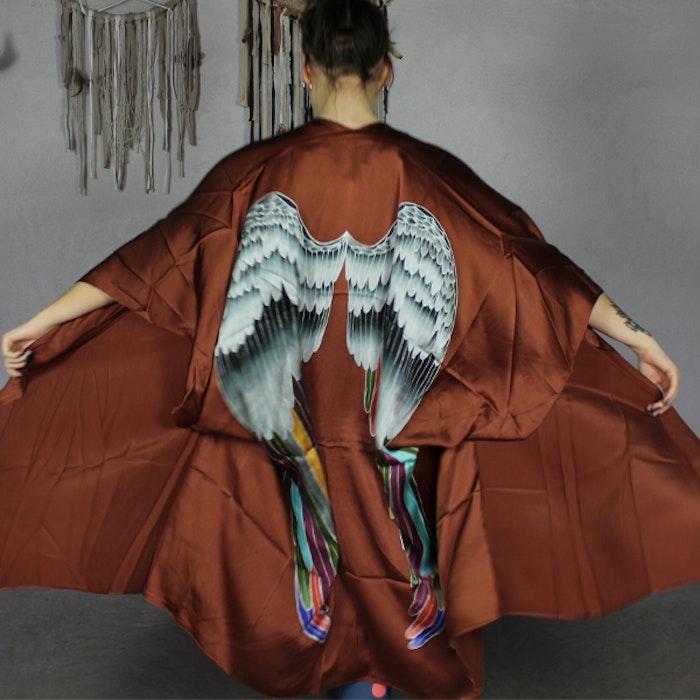"Luxe silk kimono long ""Rust warrior wings"" - Warriors of the divine"