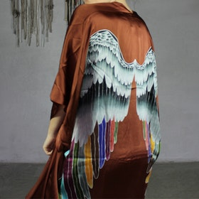 "Luxe silk kimono long ""Rust warrior wings"" - Warriors of the divine"