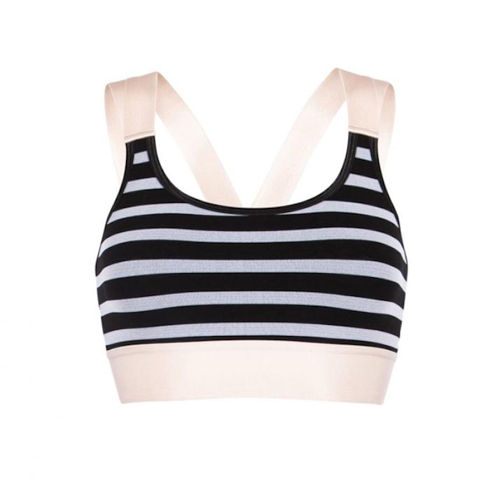 Sport-BH Bamboo Stripe Bra Black & Petal Pink - Run & Relax