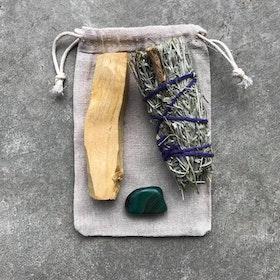 Smudge kit med Palo Santo Blue sage & Grön Agat - Yogia
