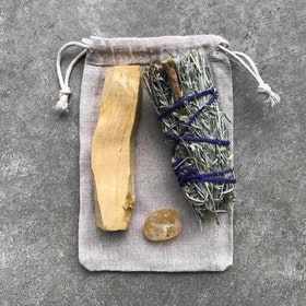 Smudge kit med Palo Santo Blue sage & Citrin - Yogia