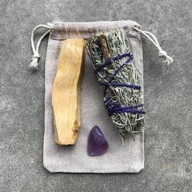 Smudge kit med Palo Santo Blue sage & Ametist - Yogia