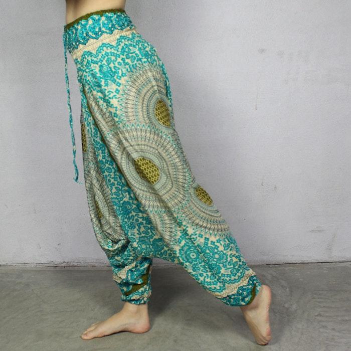 Haremsbyxa nr. 8 Turkos/Gula Mandalas - Bohemian Harem