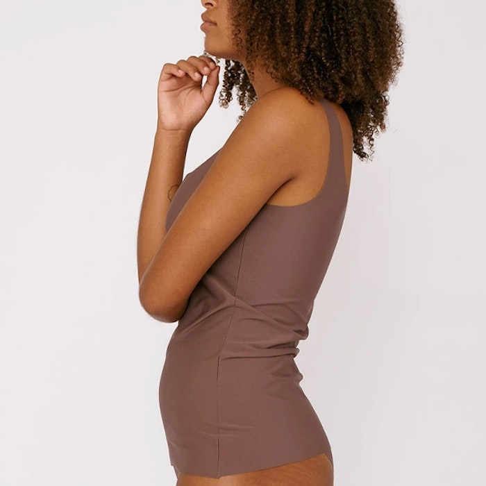 Linne Invisible Tank Top Deep Taupe - Organic Basics