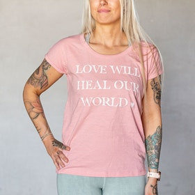 "T-shirt ""Love will heal our World"" Canyon Pink - Yogia"