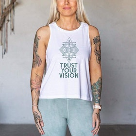 "Linne Tank Top ""Trust Your Vision"" White - Yogia"