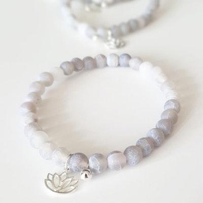 Stenarmband Lotus Silver Frostad Agat - Paz By Julia