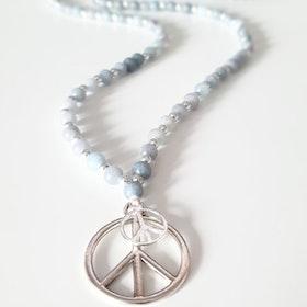 Stenhalsband Peace Silver Blå Jade - Paz By Julia