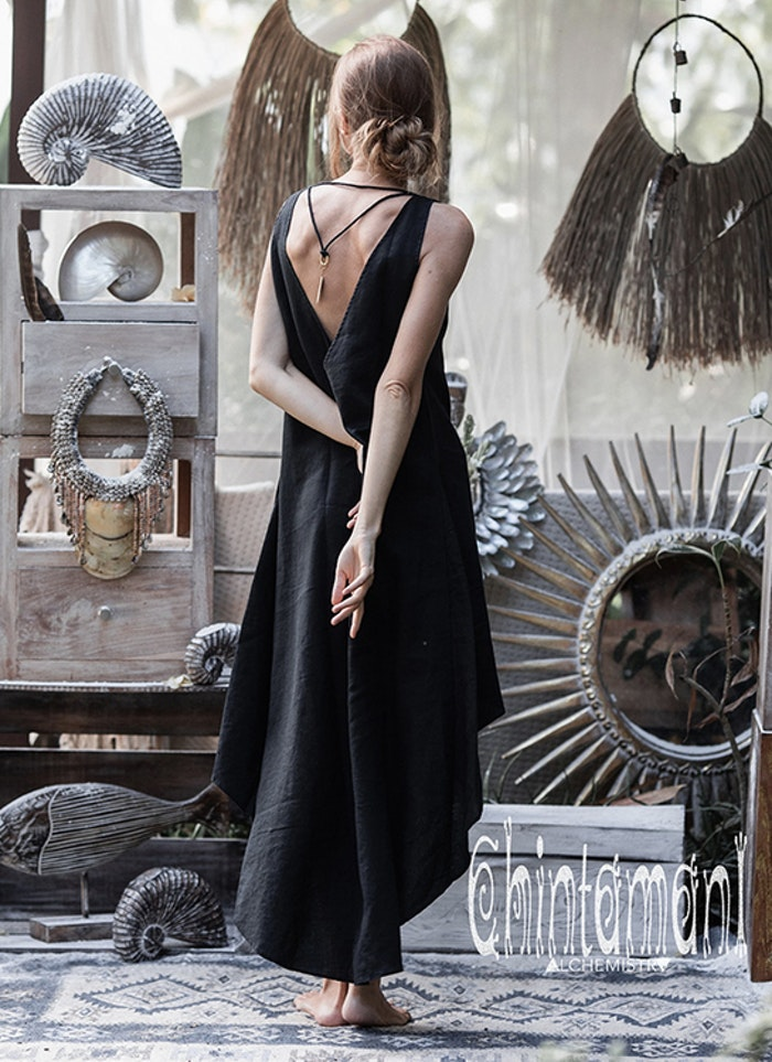 Klänning 100% linne Open back Maxi Black - Chintamani Alchemi