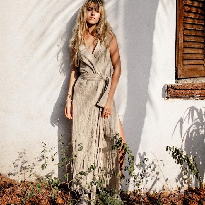 Klänning Sleeveless Long Wrap Dress Beige - Chintamani Alchemi