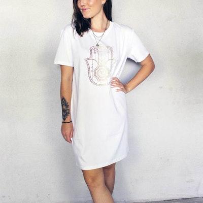 "T-shirt Dress ""Hamsa"" White - Yogia"
