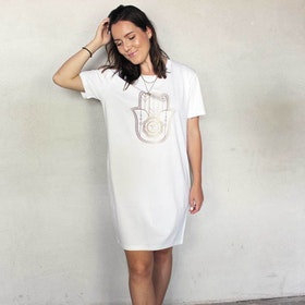 "T-shirt Dress ""Hamsa"" White - Soul Factory"