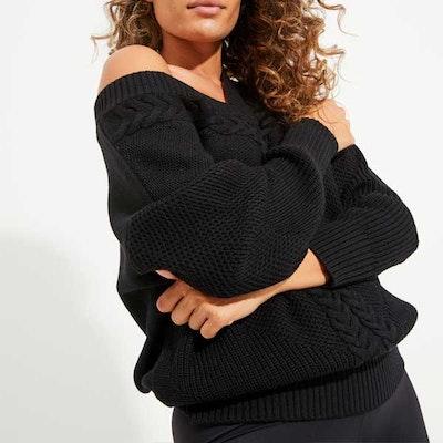 Sweatshirt Eternity Cable Knit Black (vändbar) - Dharma Bums
