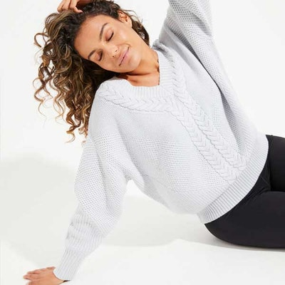 Sweatshirt Eternity Cable Knit Snow (vändbar)- Dharma Bums