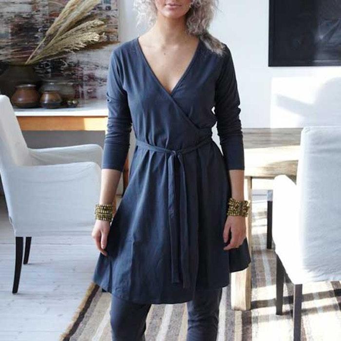 Ekologisk klänning/kofta Holly wrap me long - Santa Ni