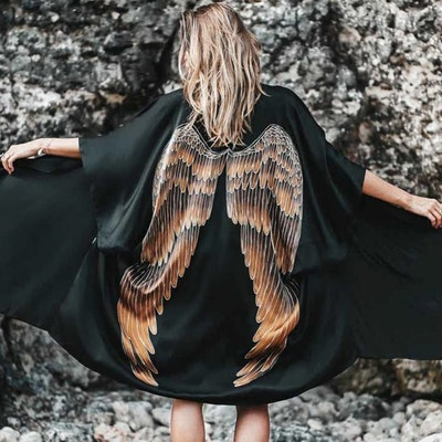 "Luxe silk kimono long ""Black Caramel wings"" - Warriors of the divine"