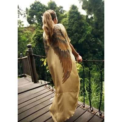 "Luxe silk Kaftan ""Golden Goddess Caramel wings"" - Warriors of the divine"