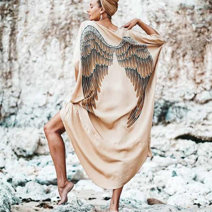 """Luxe silk Kaftan """"Golden Goddess Caramel wings"""" - Warriors of the divine"""