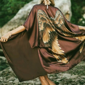 "Luxe silk kimono long ""Burnt Chocolate Caramel wings"" - Warriors of the divine"