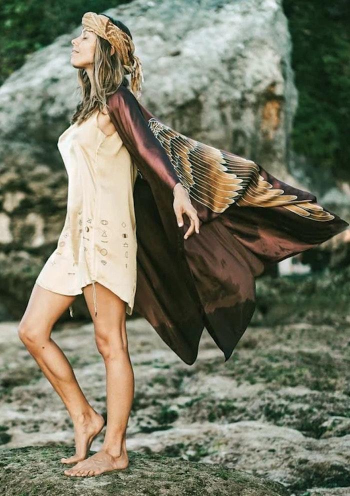 "Luxe silk kimono long ""Burnt Chocolate Caramel wings"" - Warriors of the divine"