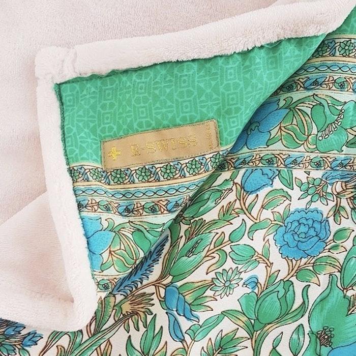 Yogafilt Sari/silke Grön/aqua/vit - E-swiss
