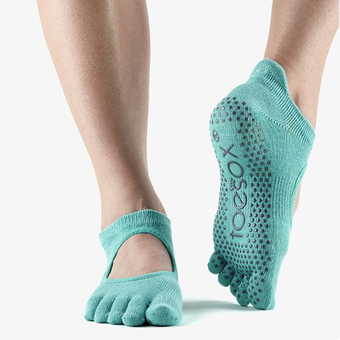 Yogastrumpor Fulltoe Bellarina Grip Aqua - Toesox