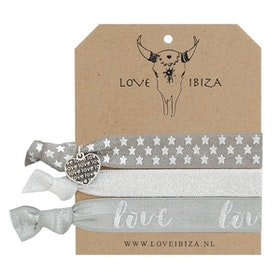 Hairties hårband/armband Silver Hearts - Love Ibiza