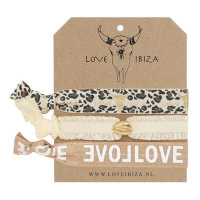 Hairties hårband/armband Leopard i neutral - Love Ibiza