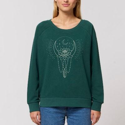 """Sweatshirt """"Moon bath"""" Glazed Green - Soul Factory"""