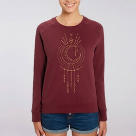 "Sweatshirt ""Geometric Moon""  Burgundy - Soul Factory"