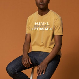"T-shirt Unisex ""Breathe Seriously just Breathe"" Ochre - Soul Factory"