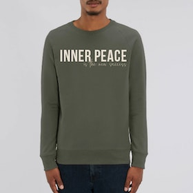"Sweatshirt Unisex ""Inner peace is the new success"" Khaki - Soul Factory"