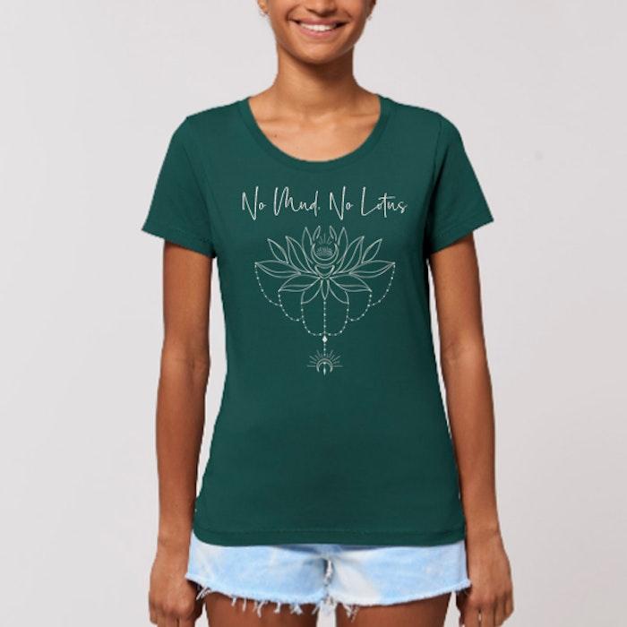 """T-shirt """"No Mud No Lotus"""" Glazed green - Yogia"""