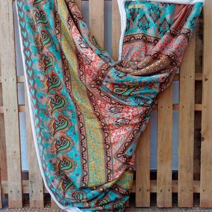 Yogafilt Sari/silke Orange/turkos - E-swiss
