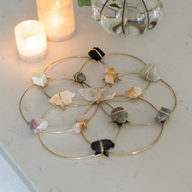 Kristall Healing  grid Flower Of Life Gold Large - Ariana Ost