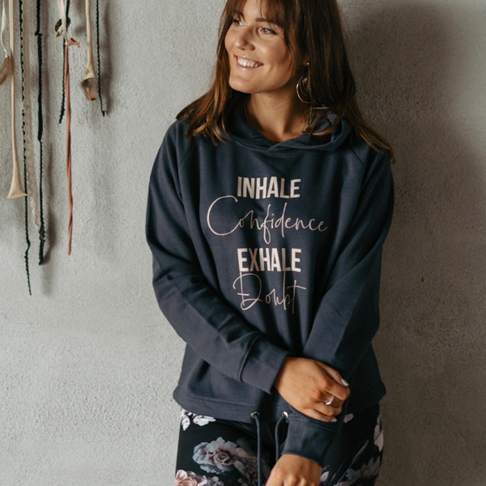 "Hoodie ""Inhale Confidence Exhale Doubt""  Ink grey - Yogia"