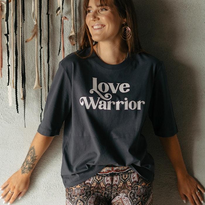 "T-shirt ""Love Warrior"" Ink grey - Yogia"