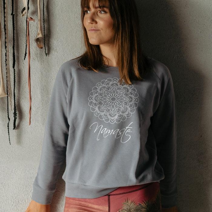 """Sweatshirt """"Namaste"""" Mandala Lava Grey - Yogia"""