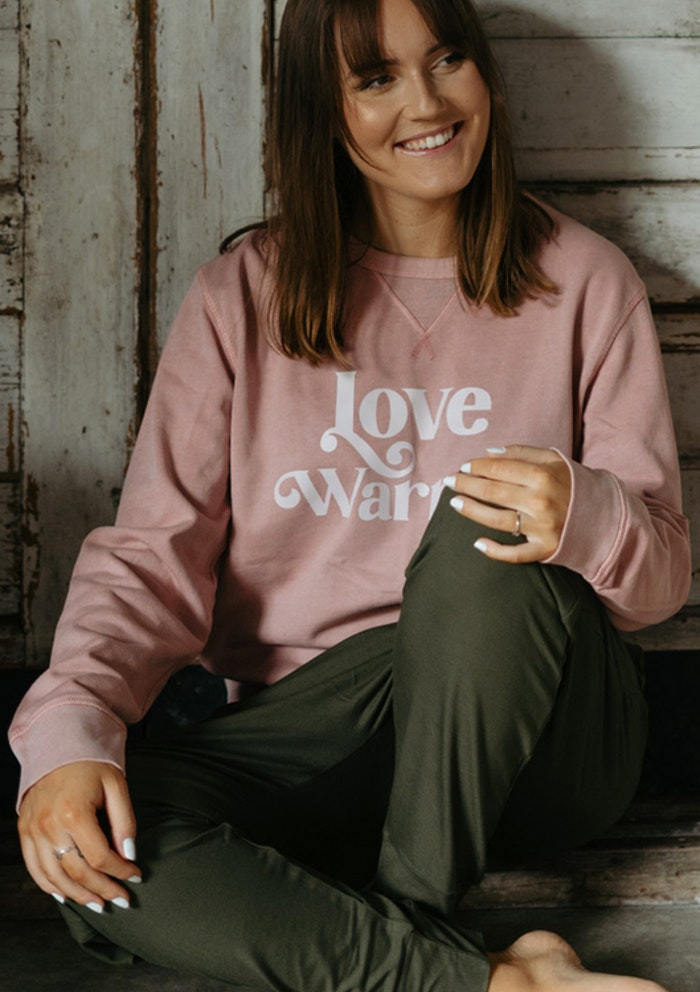 "Sweatshirt ""Love Warrior"" Canyon Pink - Yogia"