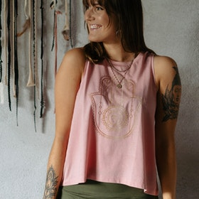 Linne Tank Top Hamsa Canyon Pink - Soul Factory