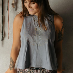 Linne Tank Top Star Sign Lava Grey - Yogia