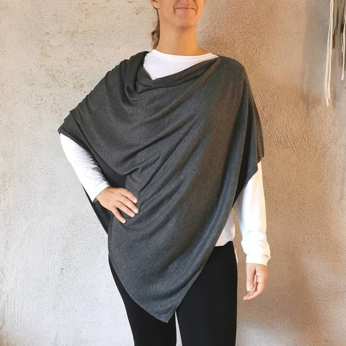 Poncho Petrina Dark Grey - Movesgood