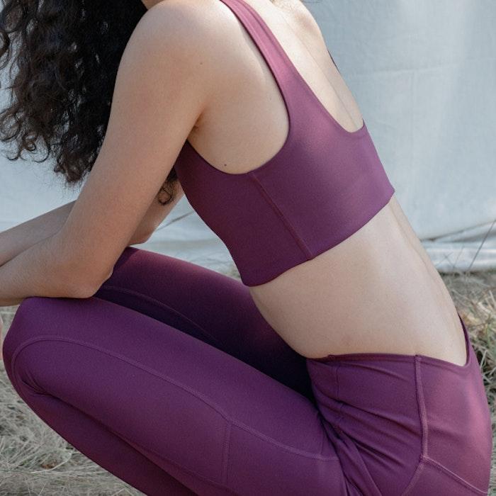 Yogaleggings Pocket High Rise Long Plum - Girlfriend Collective