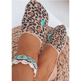 Strumpor/Sneakersocks Leopard Beige - Love Ibiza