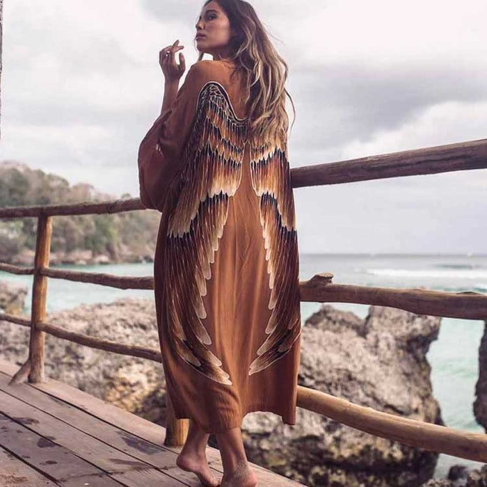 "Everyday kimono ""Clay (dark brown) caramel wings"" - Warriors of the divine"