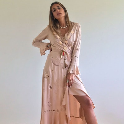 Klänning Moon Phase Maxi Wrap Dress Nude - Zaimara